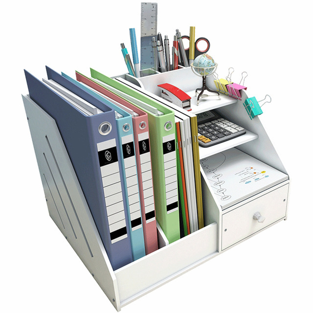 Multi Use Desktop Stationery Organizer Box With Document File Book Stand and Pen Holder Drawer Rack for Memo Note Pad 1