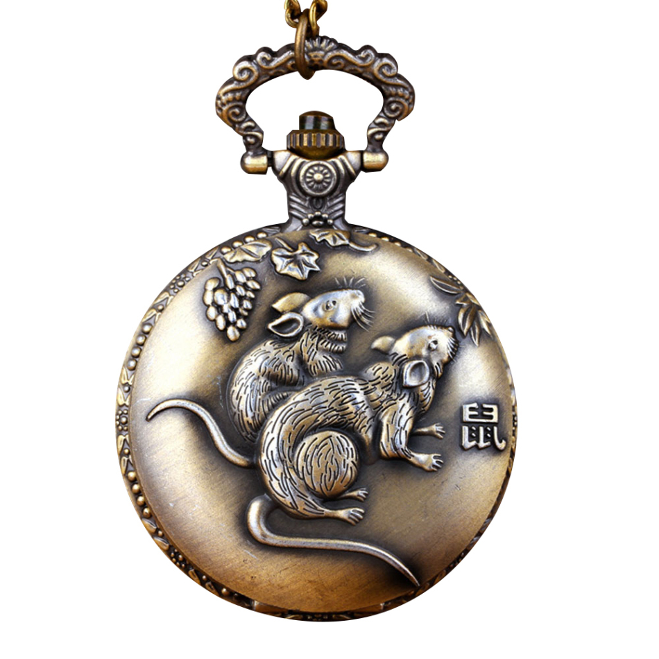 Classic Pocket Watch Jewelry Rat Alloy Quartz Watch Unisex Female Male Chinese Antique Twelve Animals Pocket Watches