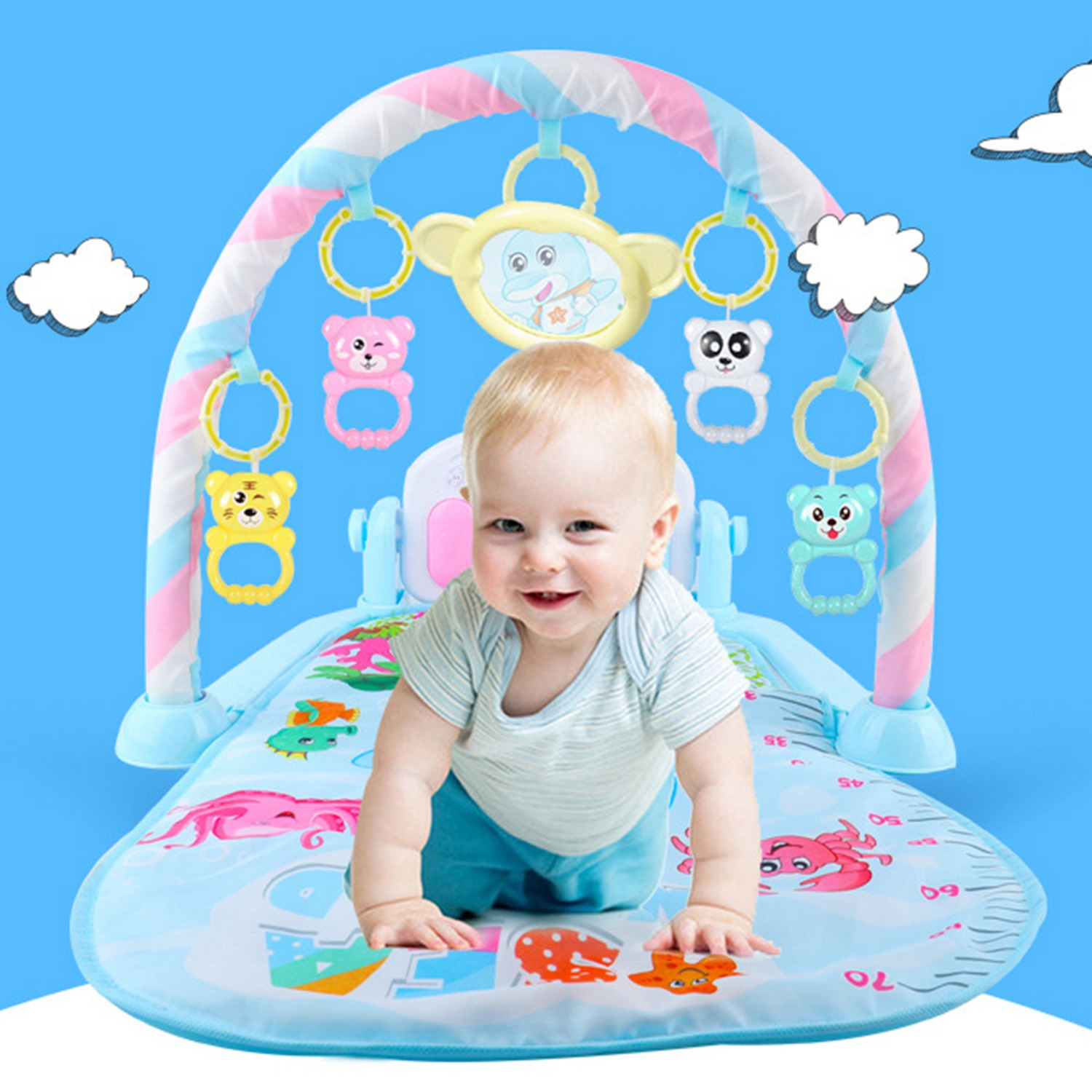 FBIL-Baby Activity Gym Children's Play Mat 0-12 Months Developing Carpet Soft Rattles Musical Toys Activity Rug For Babies Gam
