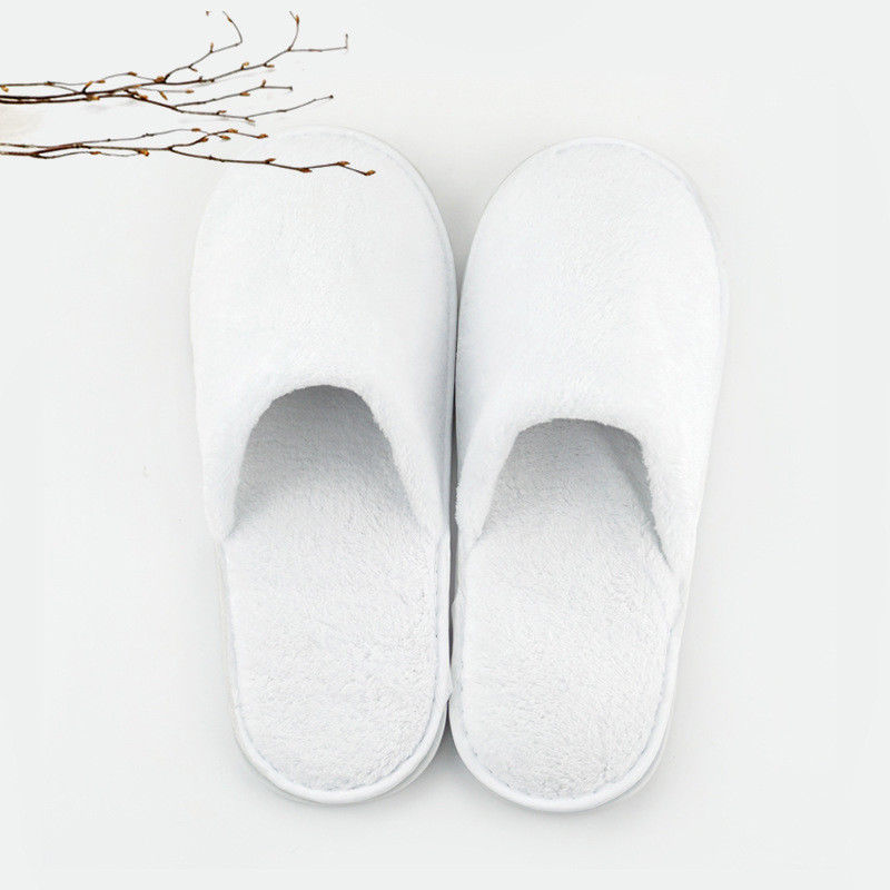 1 Pair Unisex White Cotton Slippers Hotel Party Spa Disposable Shoes Home Fluffy Guest Shoes One-off For All Season Size 43-44