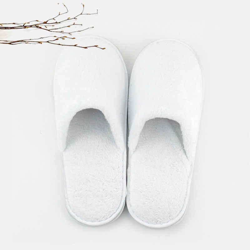 1 par unissex chinelos de algodão branco hotel festa spa sapatos descartáveis casa sapatos de hóspedes macios um-fora para toda a temporada tamanho 43-44