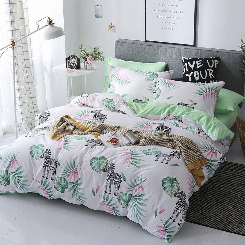 Solstice Home Textile Bedding Sets Green Zebra White Duvet Cover