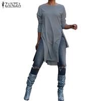 Плюс размеры Blusas для женщин блузка 2019 ZANZEA стильный Асимметричный Длинный топ Высокая разделение рубашка с длинными рукавами Повседневное