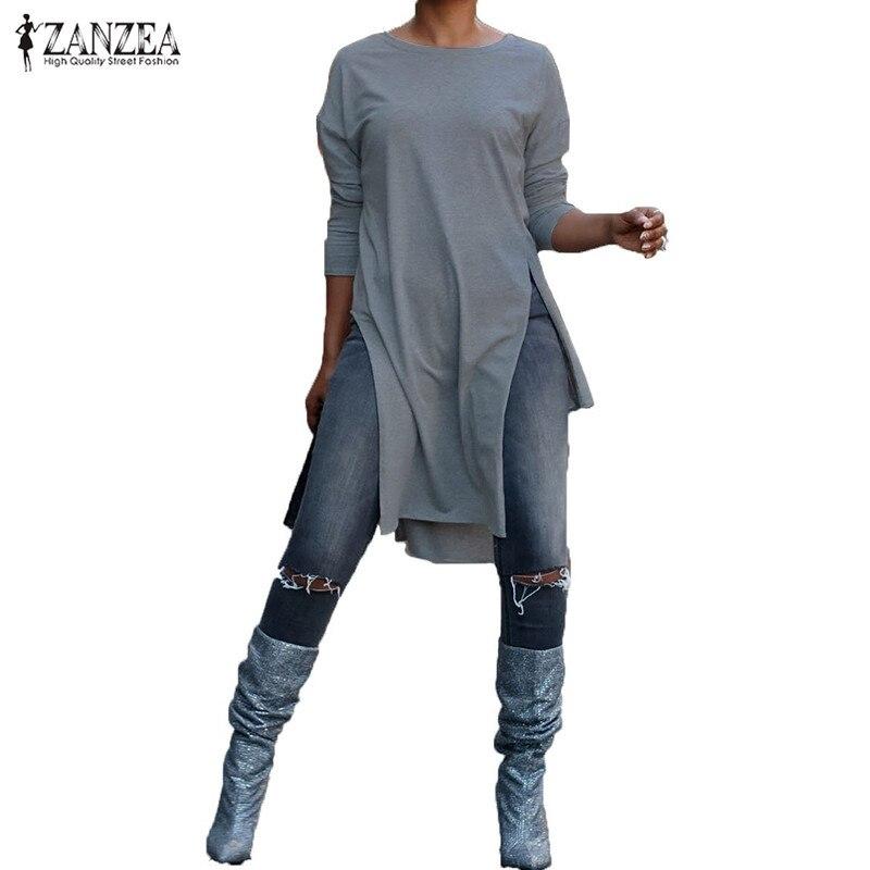 Plus Size Blusas Women   Blouse   2019 ZANZEA Stylish Asymmetrical Long Top High Split Long Sleeve   Shirt   Casual Tunic Tops Chemise