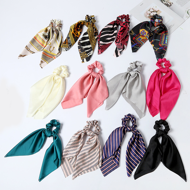 Hot Woman's Hair Band Hair Ties Bow Girl Scrunchie Cute Elastic Ribbon Rope Leopard Dot Print Soft Solid Color Hair Accessories