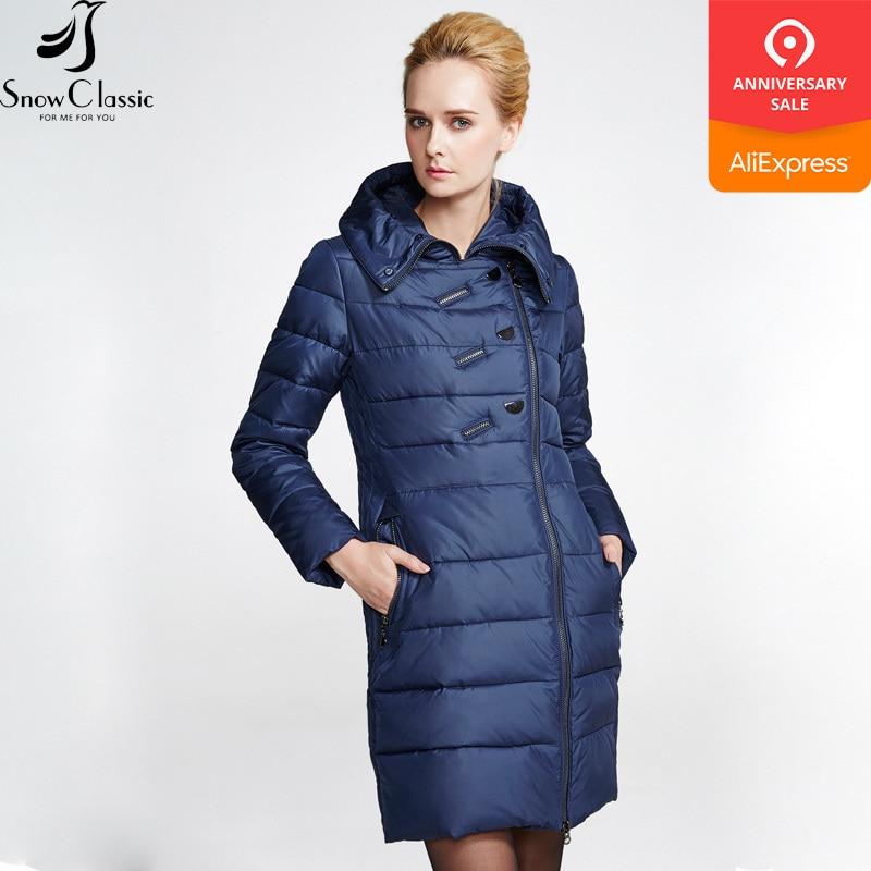 Dámská zimní bunda zimní bunda 2018 Silné dlouhé kabáty Dámská bunda s kapucí a polstrováním