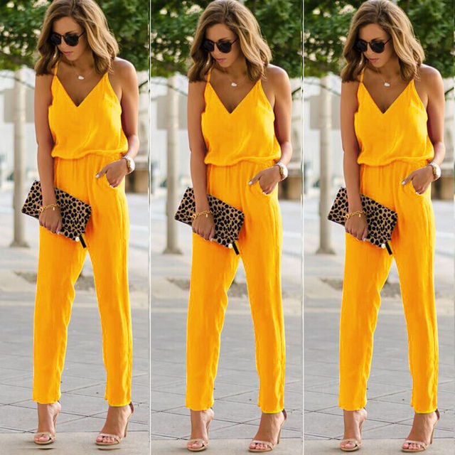 Womens Casual Solid spaghetti strap Bodycon Romper Jumpsuit Club Bodysuit Long Pants 4