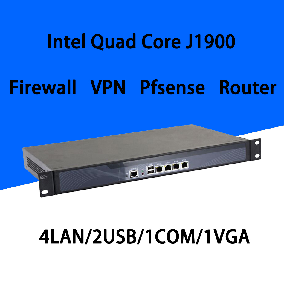 Firewall Mikrotik Pfsense VPN Network Security Appliance Router PC Intel Quad Core COM  J1900[HUNSN SA19R],(4LAN/2USB/1COM/1VGA)