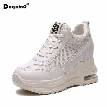 2019 Summer Women Sneakers Mesh Casual Platform Trainers White Shoes 9cm Heels Wedges Breathable Woman Height Increasing Shoes 1