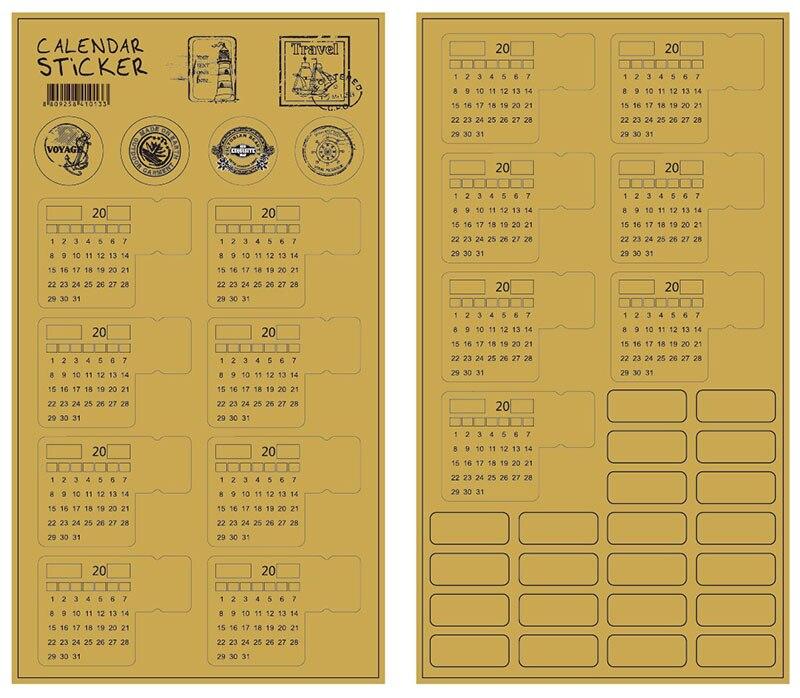 Купить с кэшбэком EZONE 2PCS Adhesive Calendar Stickers 2019 Kraft Paper Handwritten Calendar Notebook Index Label Sticker Bookmarks Stationery