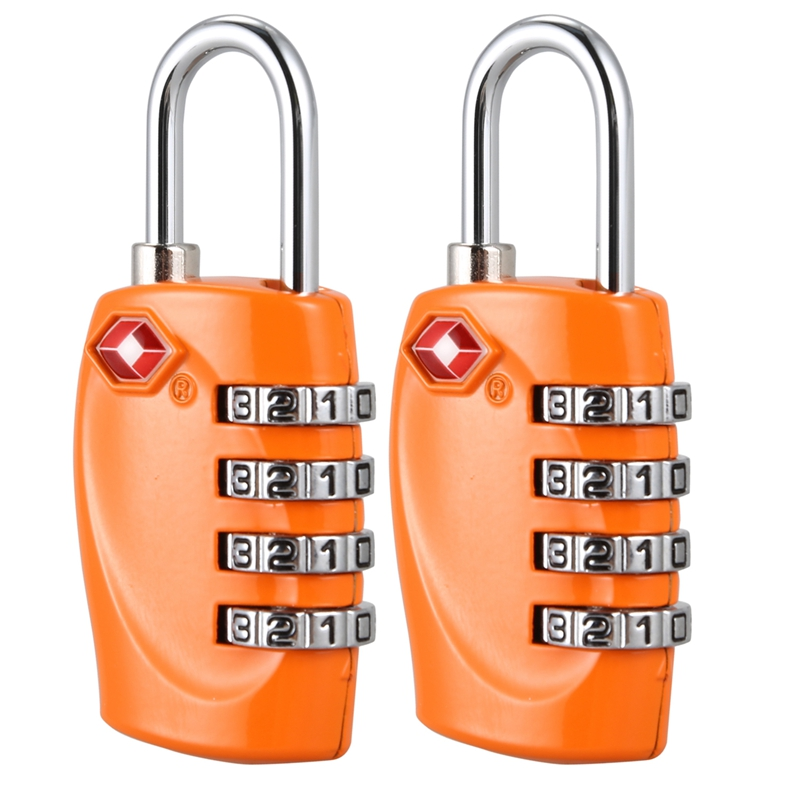 2 <font><b>padlock</b></font> with 4-digit <font><b>TSA</b></font> code for bags and orange bags image