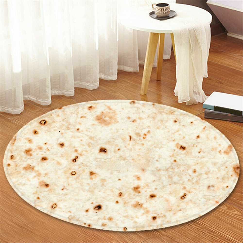60cm Mexican Tortilla Blanket Soft Flannel Blanket Throw Carpet Round Printing Rug Anti Slip Mat for Home Living Room image