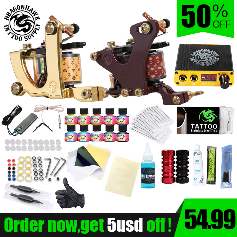 Professionele Complete Tattoo Kit Set Tattoo Machine Voeding 2 pistolen Onsterfelijke Kleureninkt Tattoo Supplies