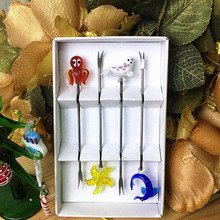 Sea style lovely stainless steel fruit fork handmade murano glass Starfish/Seals/Dolphins/Octopus Figurines Creative tableware