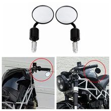 "Universal Mirrors 3"" Handle Bar End 7/8"" CNC Aluminum Rear View mirror for Kawasaki Yamaha Honda Suzuki Motorcycle Chopper(China)"