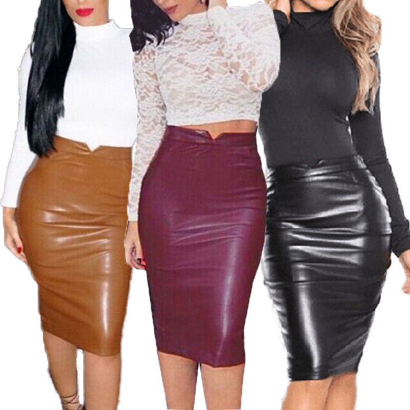 Women Fashion Sexy PU Leather Straight High Waist Fall Bodycon Club Pencil Short Mini Skirts