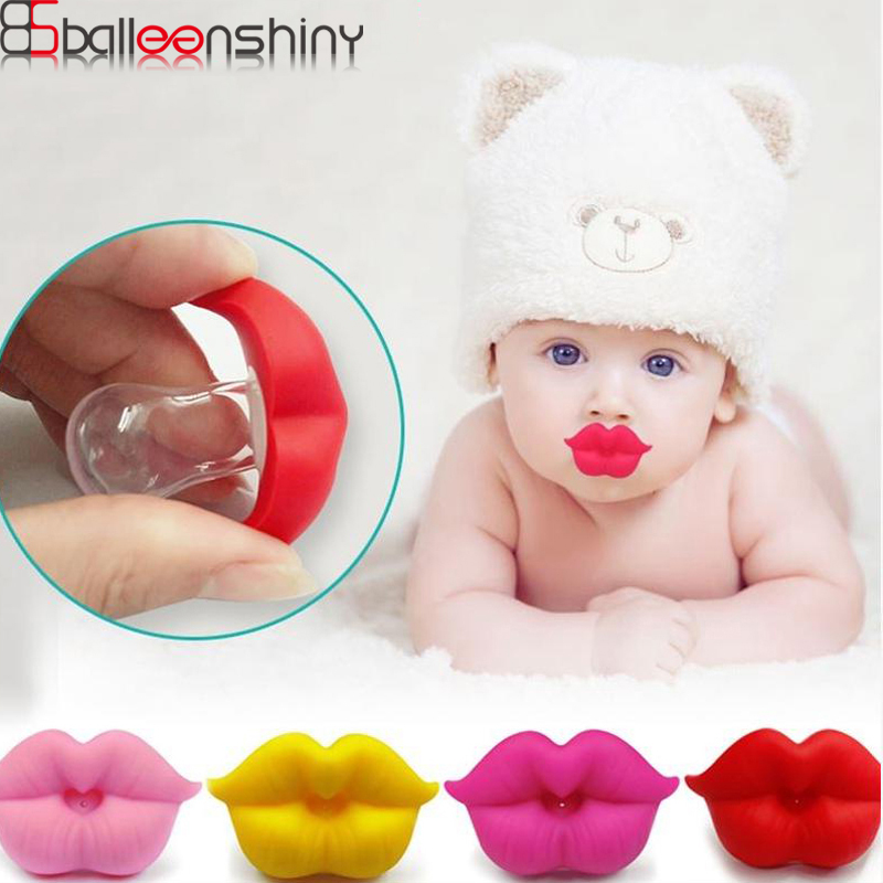BalleenShiny Safe Baby Red Kiss Lips Pacifier Soother Holder Toys Feeder Toy Infant Silicone Teether Kids Soother Pacifier