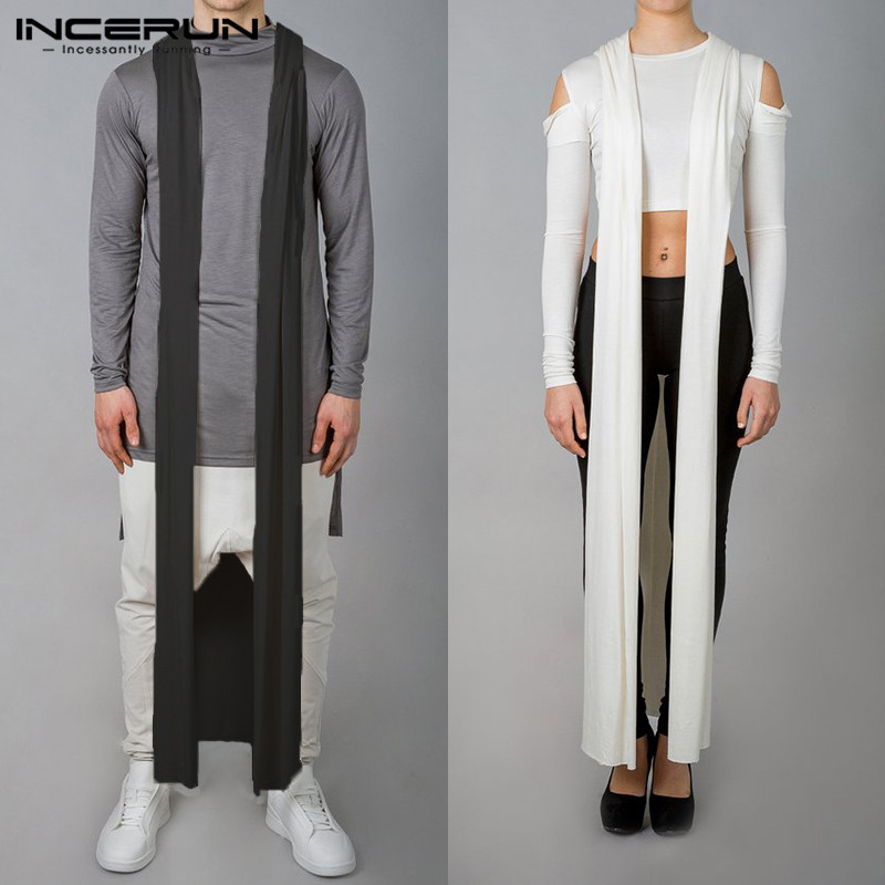 Gothic Long Trench Thin Coat Sleeveless Fashion Mens Long Jackets Casual HipHop Cardigan Male Trench Cloak Streetwear Outwear