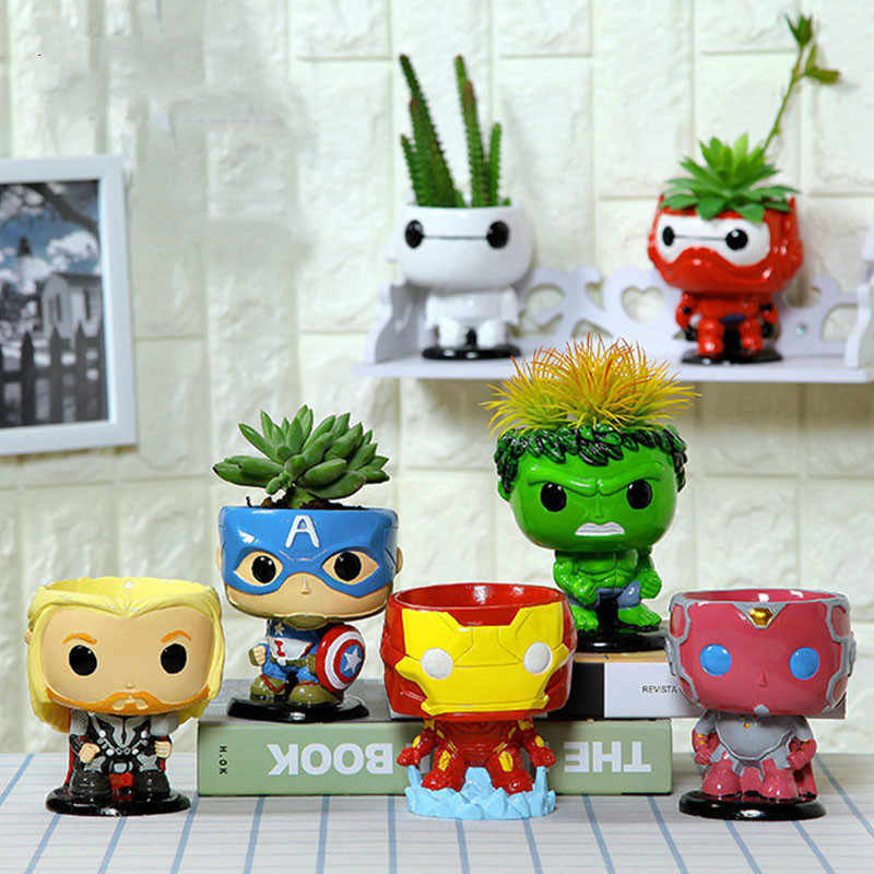 The Avengers Creative Resin Bonsai plant Pots Succulent Planter Flower Pot Home Decor Artware Home Multifunctional Flowerpot