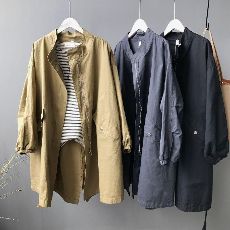 Womens   Trench   Coat Black Plus Size Regular Length Mandarin Collar Full Sleeve Pockets Zippers Solid Ropa De Mujer Moda