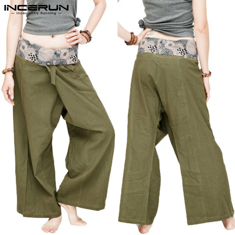Ethnic Wide Legs Pant Women Men Thai Fisherman Pants Cotton Loose Trousers Floral Drawstring Casual Pants Pantalon INCERUN 2019