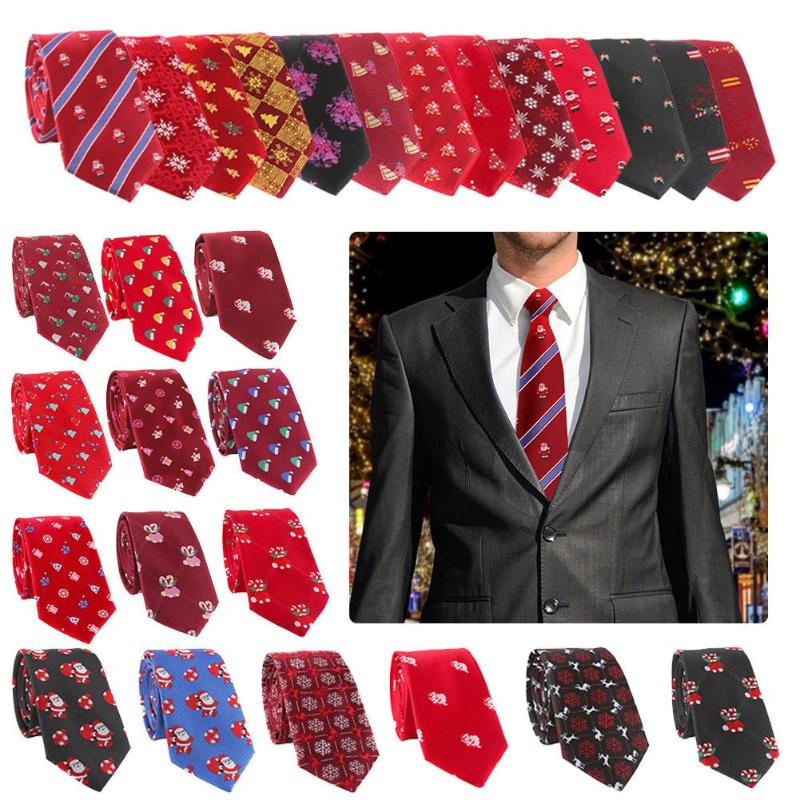 Men's New Year Christmas Tie Polyester Silk Floral Print Necktie Party Casual Neckwear Men Ties Necktie Men Business Wedding Tie