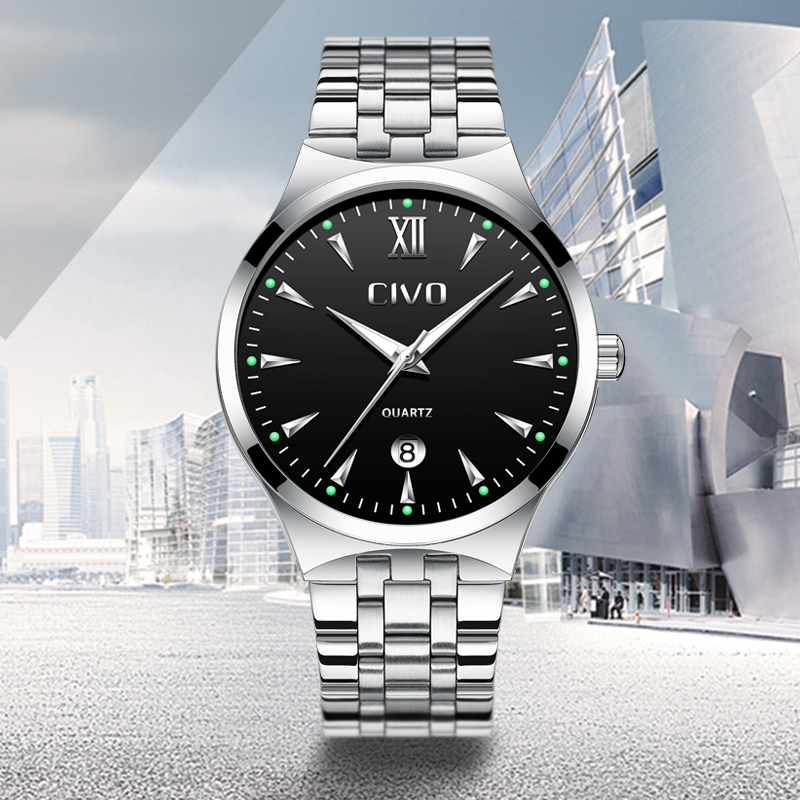 CIVO Mens Watches Waterproof Analogue Luminous Watches Stainless Steel Business Casual Quartz Watch Male Clock Jam Tangan Pria in Quartz Watches from Watches