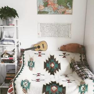 Image 3 - Multi Funktion Wohnkultur Aztec Navajo Handtuch Matte Baumwolle Sofa Bett Stuhl Decke Werfen Teppich Textil Wand Hängende Dekoration