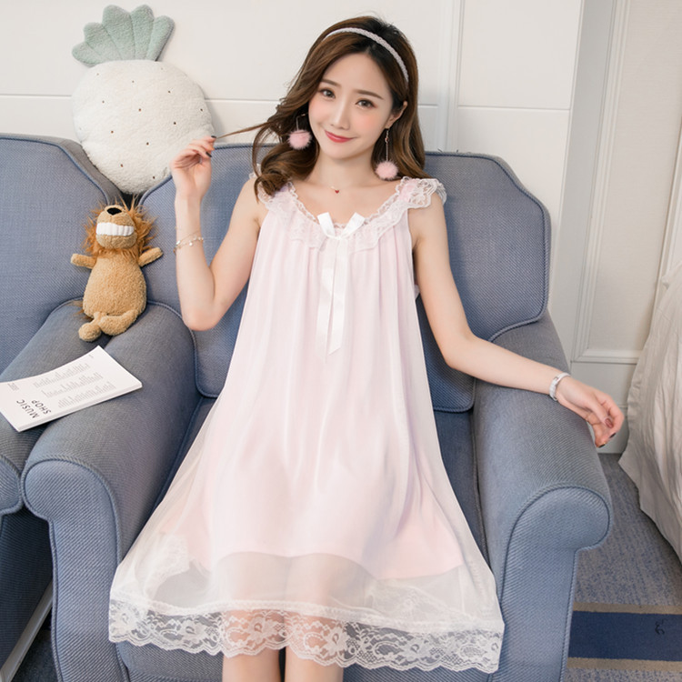 2019 Summer White Princess Nightdress Knitted Cotton Lace   Nightgowns   Sleepwear   Sleepshirts   Gowns Sleeveless For Women