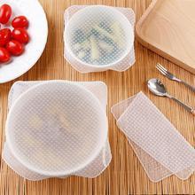 4 шт/лот многоразовый силикон обертывание уплотнение сохранение продуктов в свежем состоянии обертывание крышки стрейч вакуум упаковка еды чаша крышка инструменты для кухни дома
