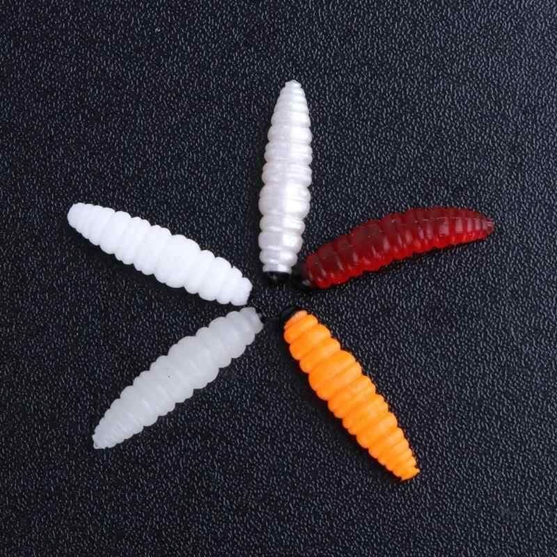 5Pcs 25mm 0.3g เหยื่อตกปลาซิลิโคน Maggot Grub Soft ประดิษฐ์เหยื่อกลิ่นหนอนเรืองแสง Shrimps ตกปลาเหยื่อ bionic 5 สี
