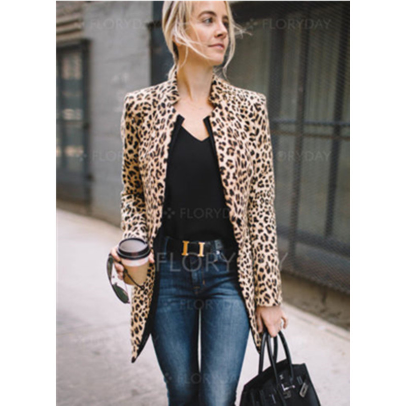 Women Fashion Leopard Print Sexy Winter Warm Windproof  Coat Lady  Long Trench Coats S-2XL
