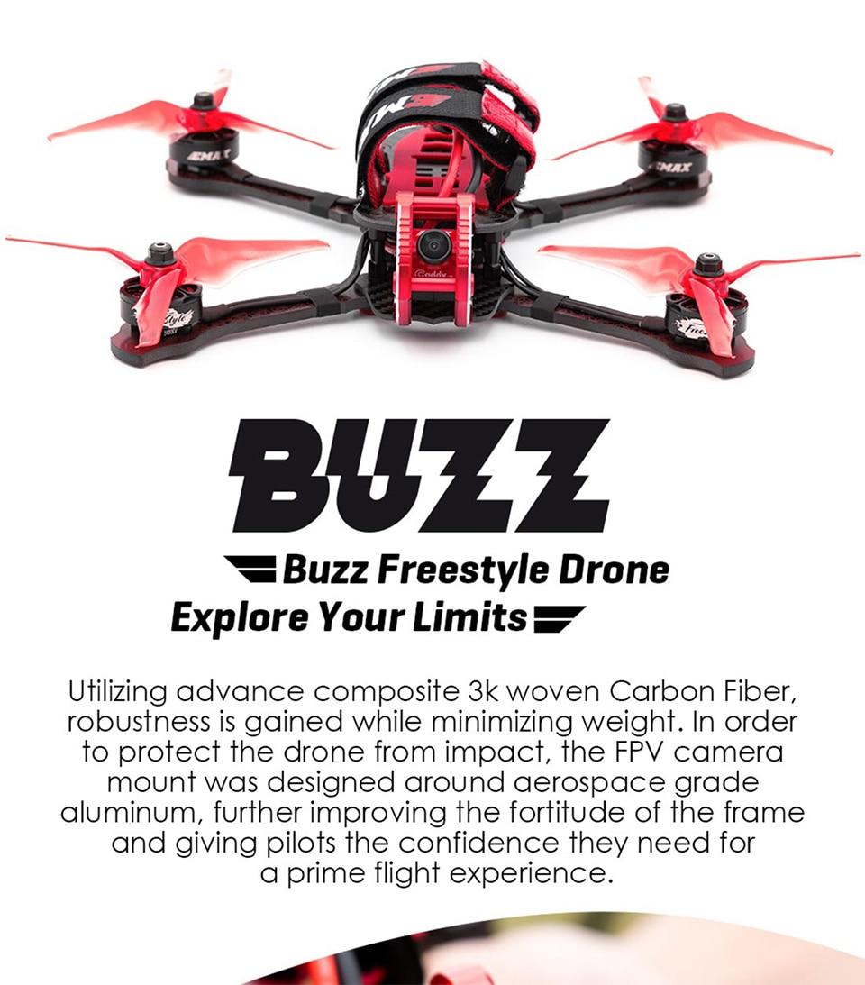 Oyuncaklar ve Hobi Ürünleri'ten Parçalar ve Aksesuarlar'de Emax Buzz 245mm F4 1700KV 5 inç 1700KV 5 6 S/2400KV 4 S FPV Yarış Drone kamera PNP/BNF w XM + Alıcı için Freestyle Quadcopter'da  Grup 1