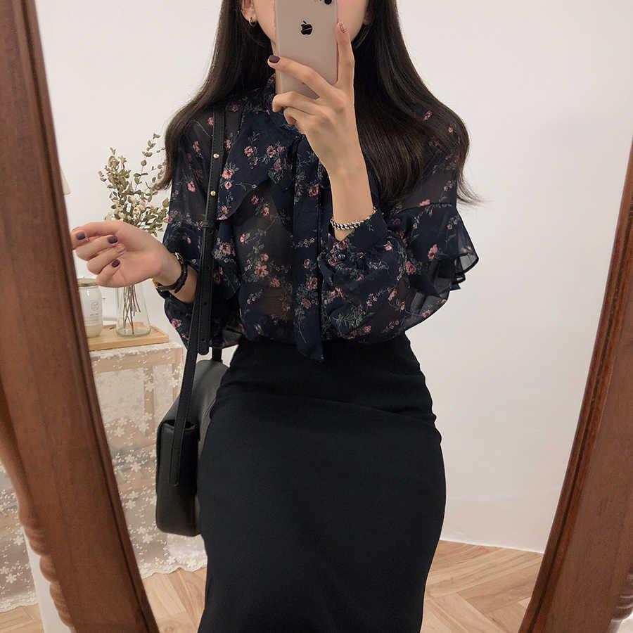2019, básico de primavera, camisas, blusas para mujeres, estilo japonés Preppy, lindas chicas, negras, blancas, con estampado Floral, camisa con lazo con volantes