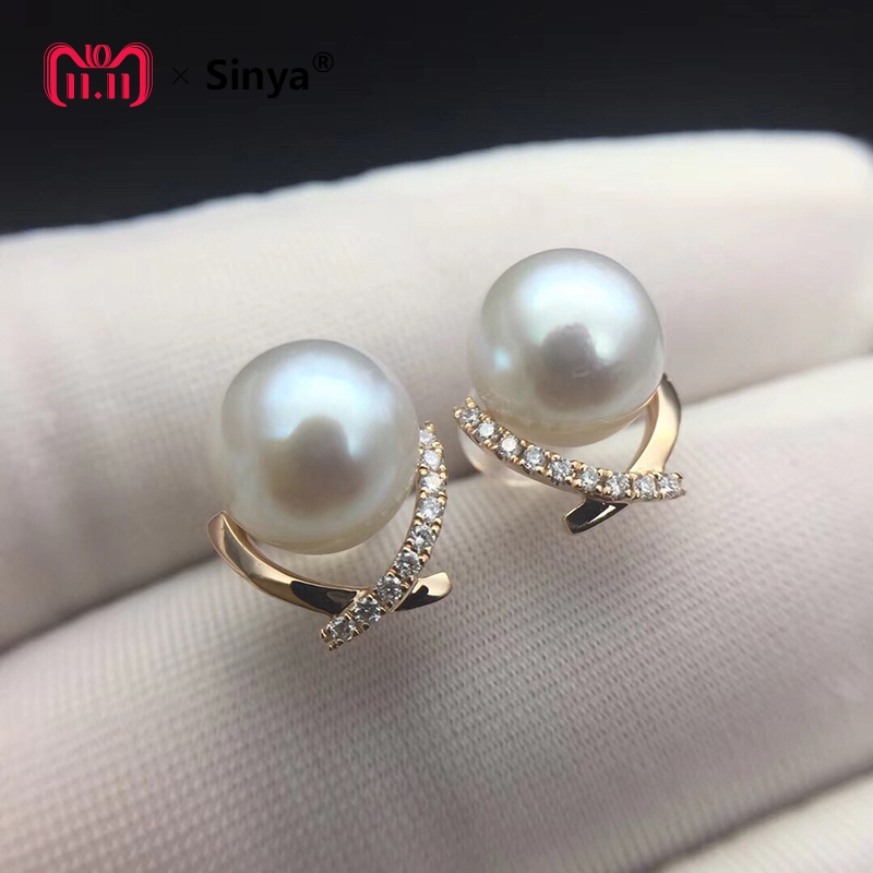 Sinya Diamond Stud earring with Natural southsea pearls in Au750 gold fashion design jewelry for women girls Mum 2018 News gift sinya real diamond southsea golden pearl pendant 18k gold necklace choker include au750 gold chains for women mum girls gift