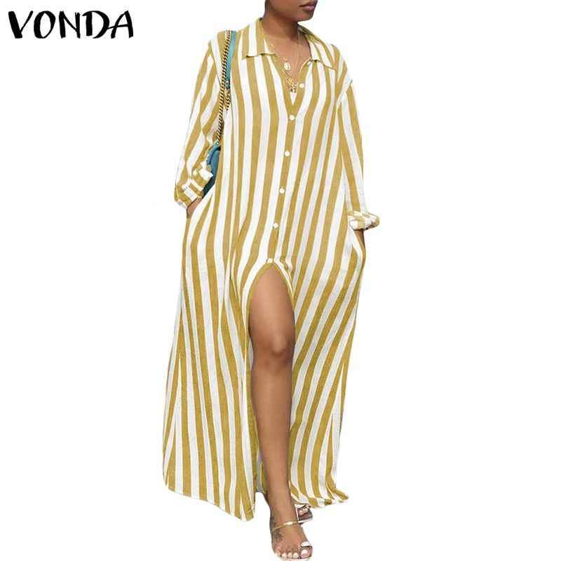 Women Striped Dress 2019 Vonda Autumn Sexy Long Sleeve Lapel Neck Buttons Split Long Maxi Dresses Casual Vestidos Plus Size