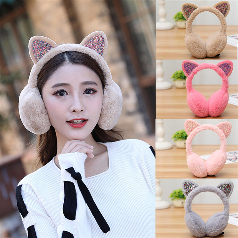 Women Kids Girl Lovely Cat Earmuffs Shiny Warmers Kitty Fur Earmuff Fluffy Soft Earlap Ear Cover Glitter Sequins Arrival 6Colors