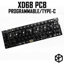 Xiaudi xd68 pcb 65% teclado mecânico personalizado, suporte TKG TOOLS underglow rgb pcb programado lotes de layouts