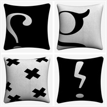 Punctuation Minimalist Design Soft Cotton Throw Pillow Case 45x45cm Vintage Pillowcase For Sofa Home Decoration Almofada at home with punctuation 7 9