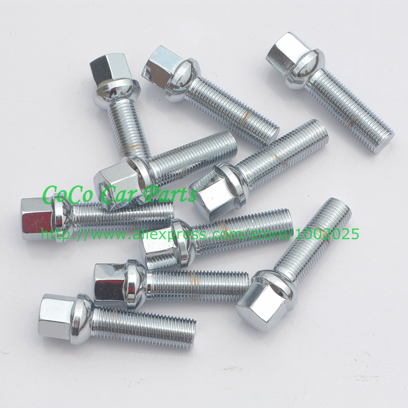 10pcs 12x1.5 M12x1.5 60MM Shank Length Chrome Ball Seat Wheel Lug Bolts
