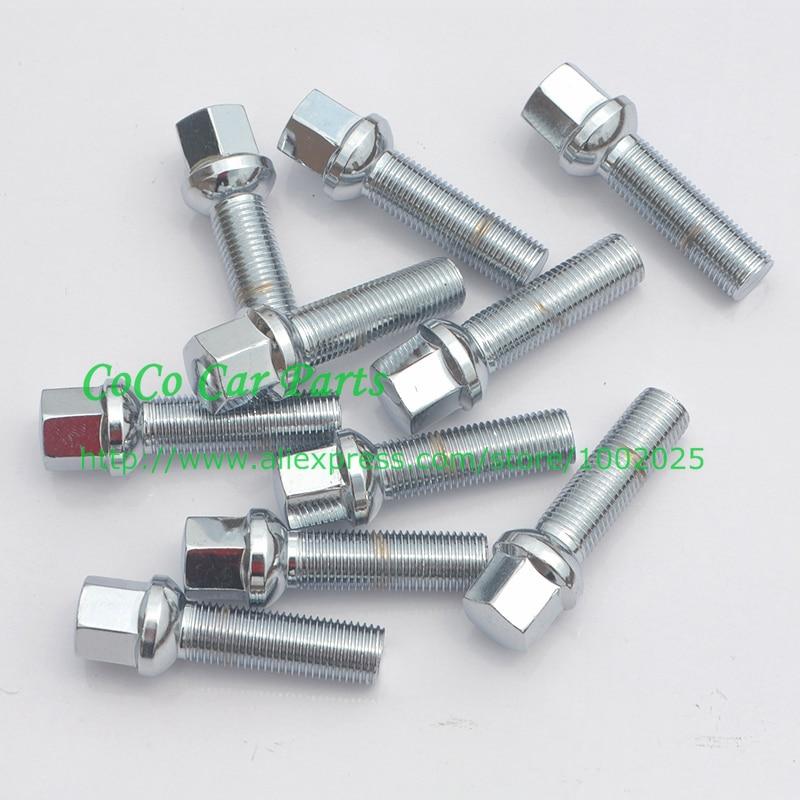 20 pieces Bolts M12x1.5 Chrome Lug Bolt set 35mm Shank Length Cone Seat M 12x1.5