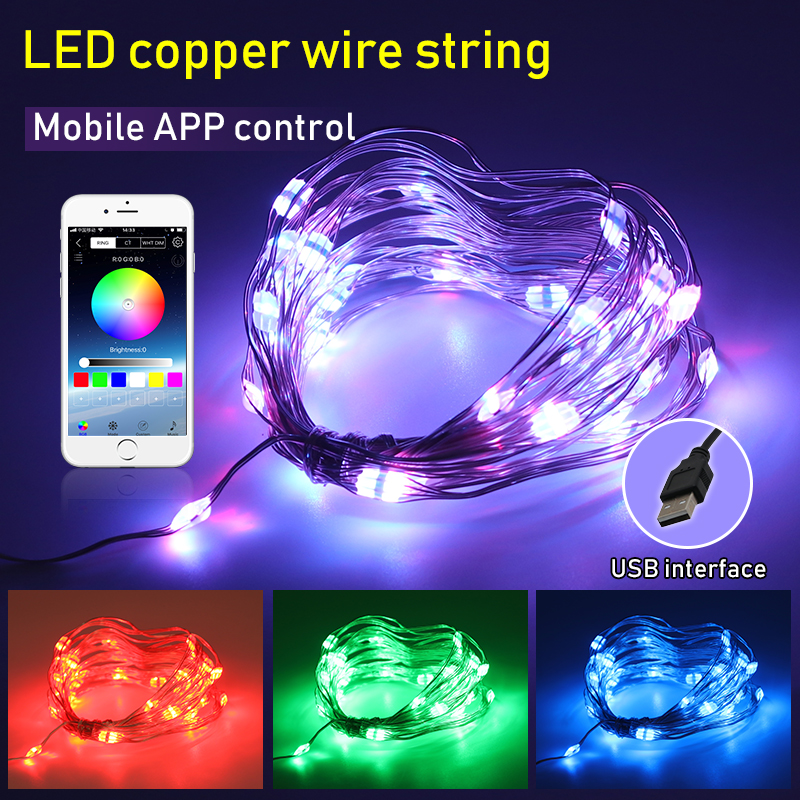 10M RGB LED Garland USB Copper Wire Waterproof LED String Fairy Light Outdoor Christmas Decorative LED Lights String 1M 2M 3M 5M