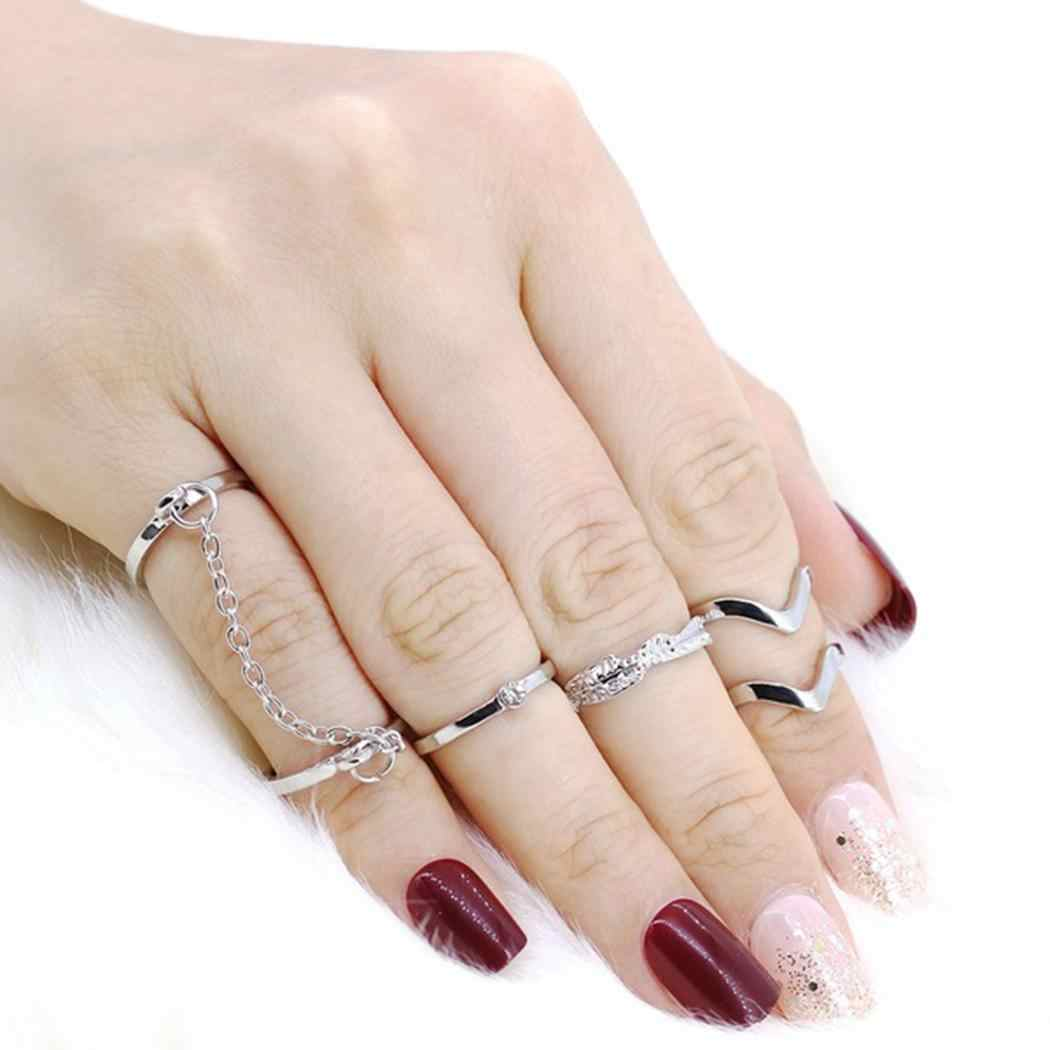 Gold Mid pcs/Set Joint Alloy Finger Women 6 of Fashion Ring Finger Silver Chain