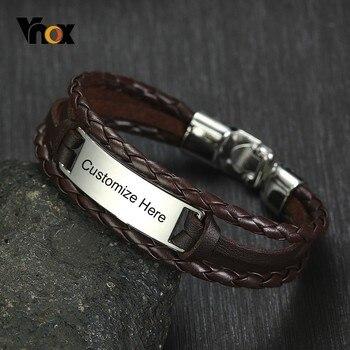85bc0677e890 Vnox gratis personalizado etiqueta de ID de Triple capas pulseras de cuero para  hombres de acero inoxidable Bar grabar nombre inspiración Pulseira