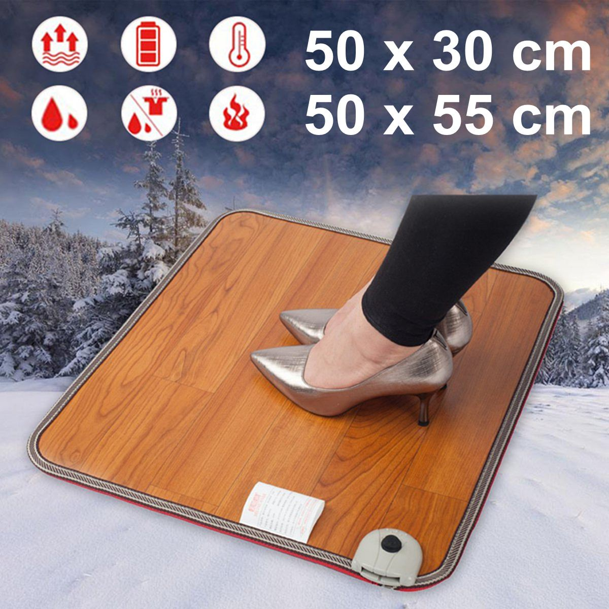 2 Sizes Office Heating Foot Mat Warmer Leather Electric Heating Pad Warm Feet Thermostat Carpet Household Warming Tools 50W 220V