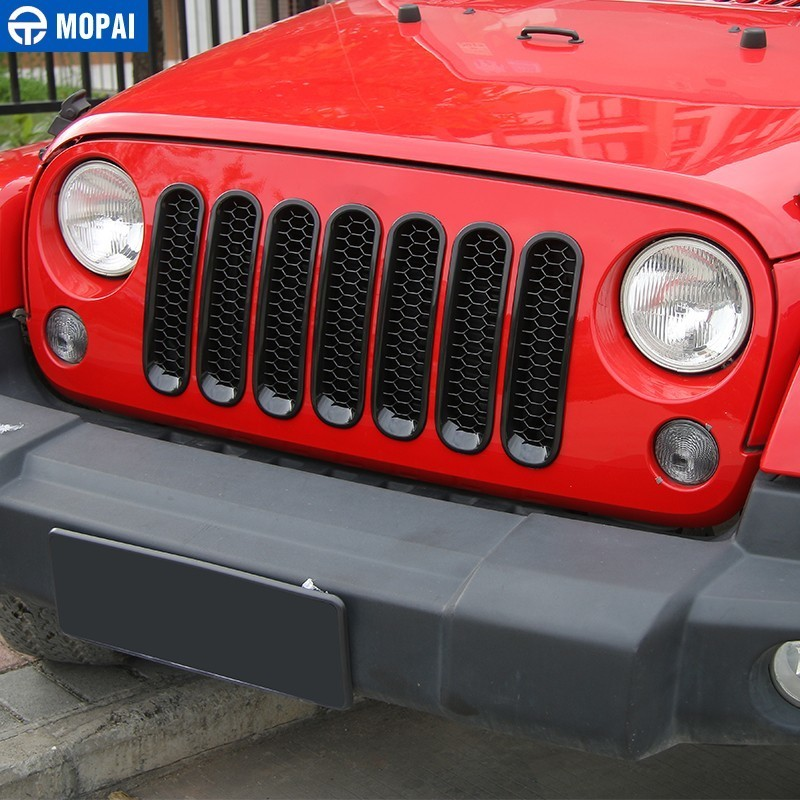 Image 5 - MOPAI 9 PCS Car Sticker Car Front Grilles Cover With Headlight Lamp Decoration Cover for Jeep Wrangler JK 2007+ Car Accessories-in Car Stickers from Automobiles & Motorcycles