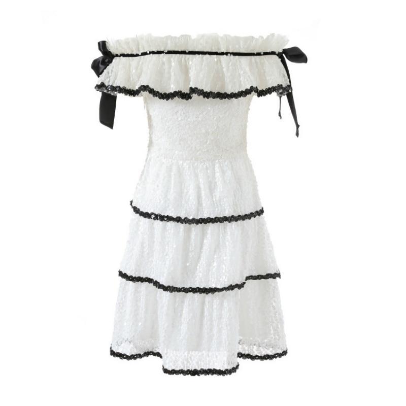 Robe Mode Courte Nouvelle Arcs Paillettes Dress Dames Blanc Jolies White Élégant Perlé Été Robes Femmes Off Épaule 5wYSqUx00