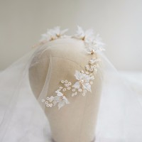 White Color Flower Tiara Wedding Hair Jewelry Headbands For Women Vintage Style Pearl Headpiece Female Party Jewelry