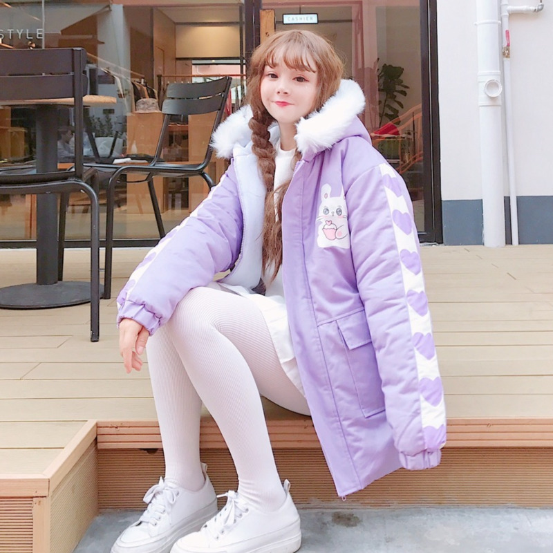 2019 Winter Women Fashion Cute Cartoon Print Maiden Thicken Coats Kawaii Hooded Loose Pink Belt Casual Brief Long Coat