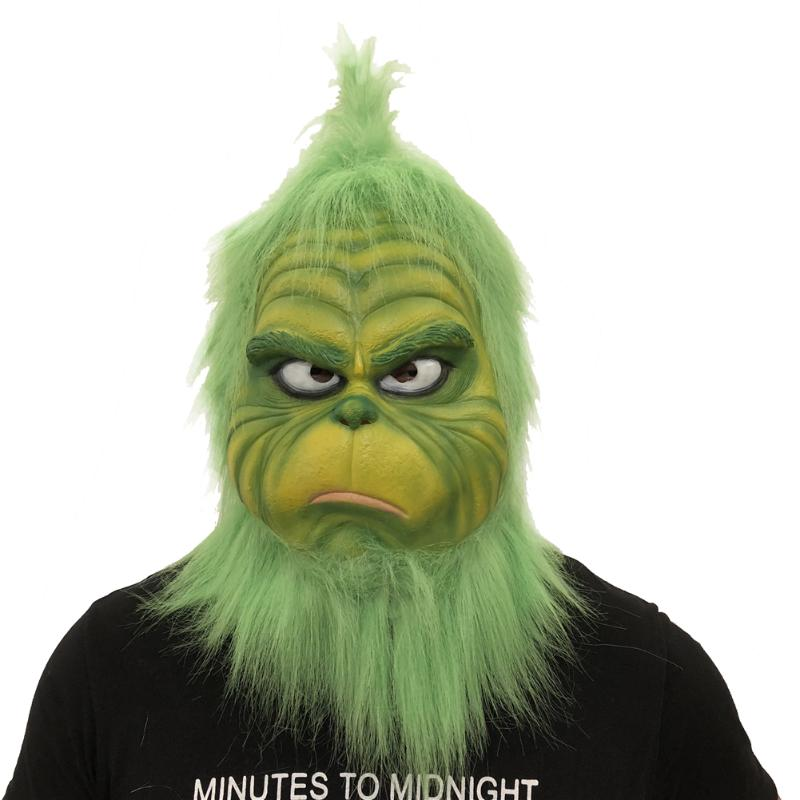 Soft Breathe Adult Grinch Cosplay Mask Green Fur Melting Face Latex Helmet Party Costume Props Mask